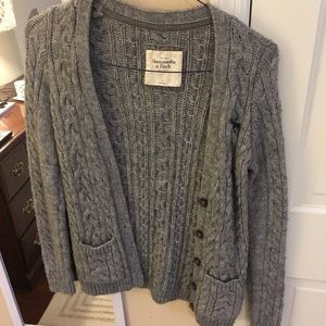 Abercrombie & Fitch Gray Cable knit Cardigan